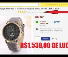 Relógio de madeira para revenda  | R$1.538,00 revendendo relógio de R$8,00 no Mercado Livre